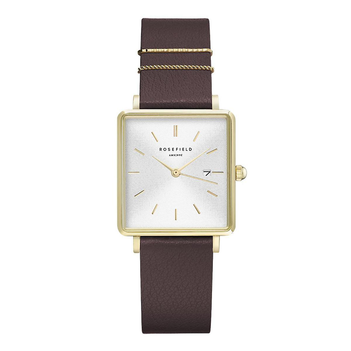 Rosefield QSAG-Q030 watch - Bo tier m tal dor shiny white dial with red leather strap dator or women's rings