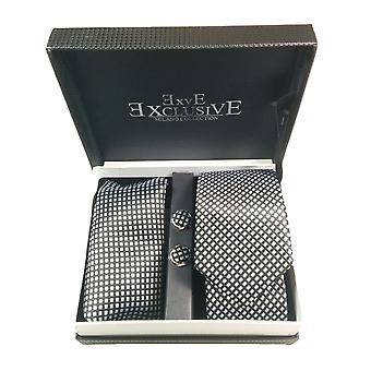 Tie, Cufflink & Hankerchief Set Exlusive Milan Collection 100% Hand Made Black And Sliver diamonds