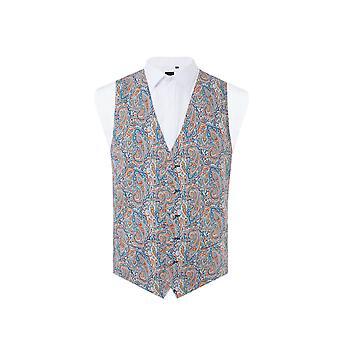 Liberty Mens 'Tessa' Orange/Blue Paisley Waistcoat Regular Fit 100% Cotton