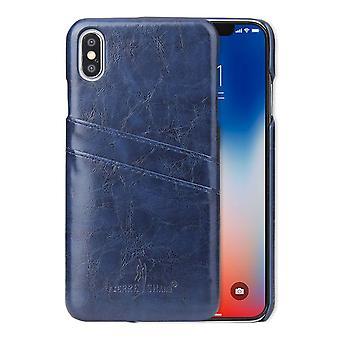 Für iPhone XS MAX Cover, Deluxe Brieftasche mit Karte Slots Leder Handytasche, blau