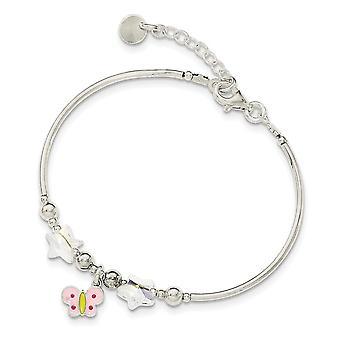 925 Sterling Silver for boys or girls Enamel Crystal Butterfly Angel Wings Stars Bracelet 6 Inch