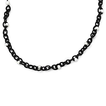 Bal en lus gesp Zwarte Stof met White Freshwater Zoetwater Gekweekte Parels Ketting 17,5 Inch Sieraden Geschenken voor W