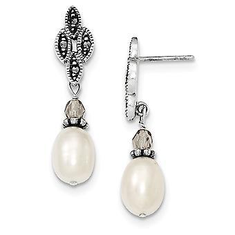925 Sterling Silver Dangle Post Brincos De acabamento Antigo Bead com Freshwater Cultured Pearl Fancy Post Drop Earrin
