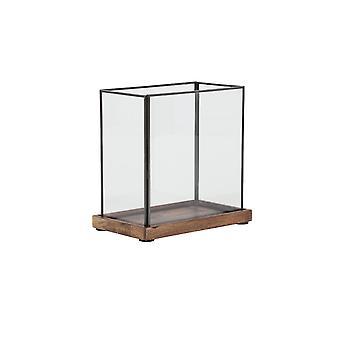 Light & Living Hurricane 25x14.5x23.5cm - Chibo Wood Brown-Black-Glass