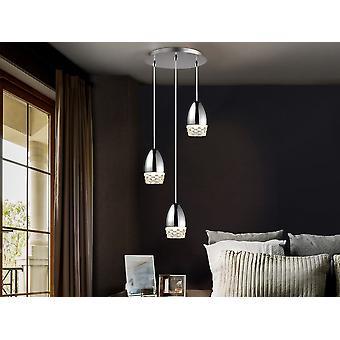Schuller Alessa - Lampe ronde de 3 lumières, en métal, finition chromée. Nuances de verre moulé. Longueur réglable. - 553347