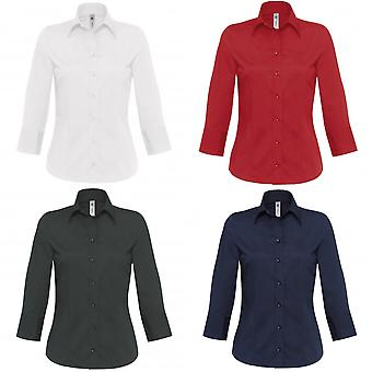 B & C Милан Мужская/Женская рубашка 3/4 рукав корпоративных поплин