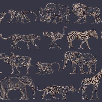 Boutique Safari Animals Wallpaper Navy Blue / Rose Gold Graham and Brown 104893