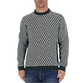 Prada Uma9461lr2f0opp Männer's weiß/grün Wolle Pullover