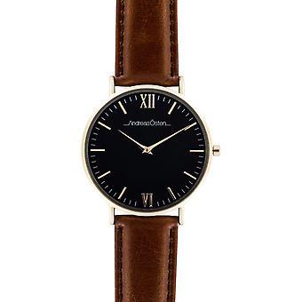 Watch Andreas Osten AO-87 - Leather Watch Marron Bo tier Dor Mixed