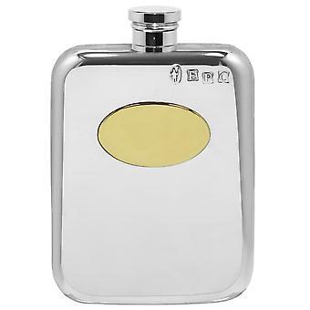Brass Plate Pewter Purse Flask - 6oz