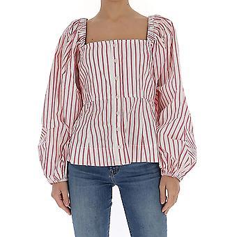 Ganni F4538459 Women's White/pink Cotton Shirt