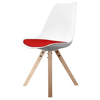 Fusion Living Eiffel Inspired White And Red Dining Chair With Square Pyramid Light Wood Legs