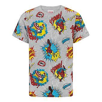 Marvel T-skjorte For gutter   Kids Superhero Tegneserier Kortermet Topp   Hero Captain America Spider-Man Iron Man Tegn Grå Skjorte   Marvel Tegneserier Gaver