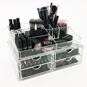 OnDisplay Cosmetic Makeup and Jewelry Storage Display Case - 4 Drawer Tiered Design - Perfect for Vanity, Bathroom Counter, or Dresser