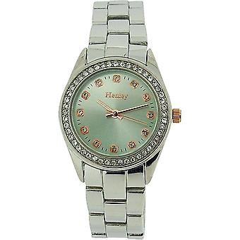Henley Glamour Ladies Blue Dial Diamante Bezel Silver Tone Dress Watch H07222.11