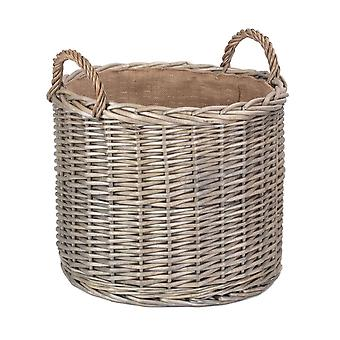Large Round Lined Straight-Sided Wicker Log Storage Basket