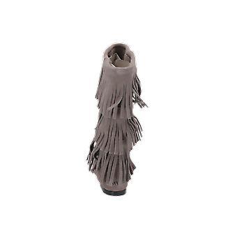 Minnetonka 3 Layer Fringe Women's Boots Grey Lace-Up Boots Winter