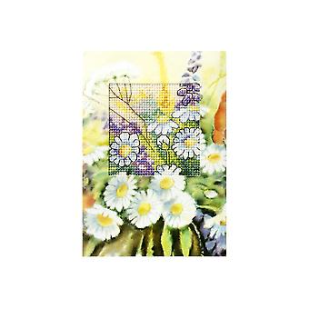 Orchidea Printed Cross Stitch Card Kit - Spring Daisies