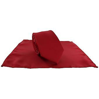 Michelsons van Londen Silm Satin Polyester zak plein en stropdas Set - helder rood