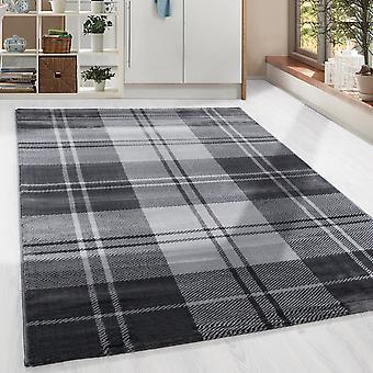 ShortFlor tæppe skotsk skotsk skotsk mønster design stue tæppe grå smeltet