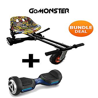 """6.5"""" G PRO Blue Bluetooth Hoverboard with Go Monster Hoverkart in Hip Hop"""