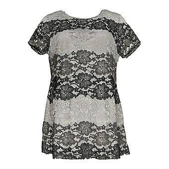 Isaac Mizrahi Live! Donne 's Top Ombre' Pizzo Short Sleeve Tunic Gray A287441