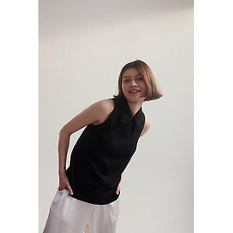 Lindsay Nicholas NY Fiona Collar Top Black