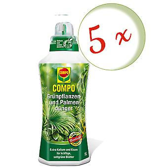 Sparset: 5 x COMPO green plant and palm fertilizer, 1 litre