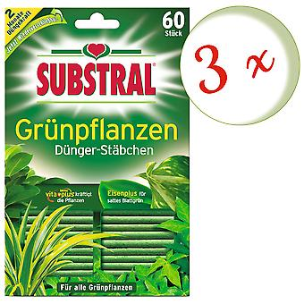 Sparset: 3 x SUBSTRAL® fertilizer rods for green plants, 60 pieces