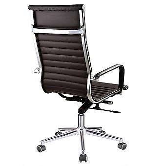 Yescom Executive High Back Ribbed PU Leather Swivel Office Computer Desk Chair Brown XL