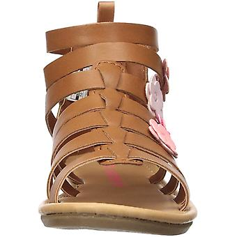 carter's Girl's Flossie Flower Gladiator Sandal, Brown, 4 M US Peuter