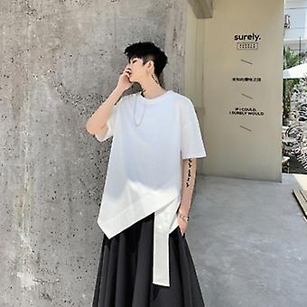 Cuello redondo Diseño irregular Hombres's Camiseta Juvenil de Peluquería de manga corta