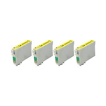 RudyTwos x 4 repuesto para unidad de tinta Epson Caballito amarillo Compatible con Stylus Photo R200, R220, R300, R300M, R320, R325, R330, R340, R350, RX300, RX320, RX500, RX600, RX620, RX640
