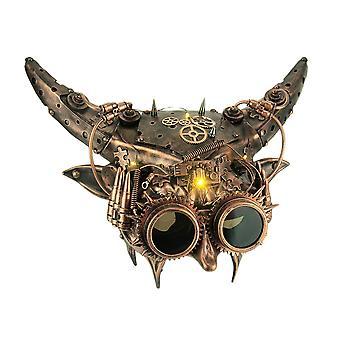 Mechanical Devil Light Up Adult Horned Steampunk Demon Costume Mask