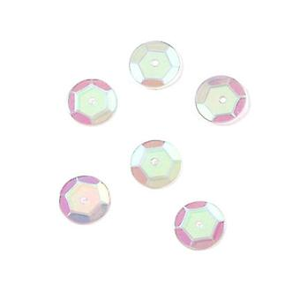 10mm Clear Iridescent Round Cupped Sequins - 120pk