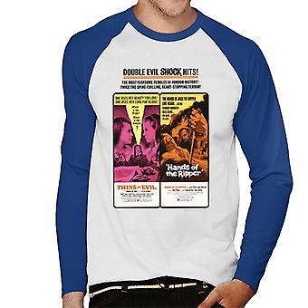 Hammer Horror Films Twins Ripper Double Evil Shock Hits Men-apos;s Baseball Long Sleeved T-Shirt Hammer Horror Films Twins Ripper Double Evil Shock Hits Men-apos;s Baseball Long Sleeved T-Shirt Hammer Horror Films Twins Ripper Double Evil Shock Hits Men-apos;s Baseball Long Sleeved T-Shirt Hammer Horror