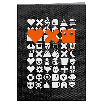Love Death And Robots White Icons Greeting Card
