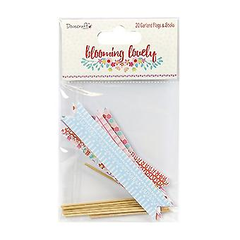 Dovecraft Blooming Lovely Garland Flags & Sticks