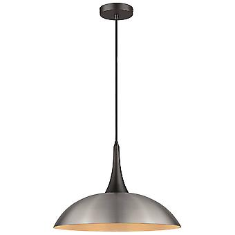 1 Light Dome Ceiling Pendentif Noir, Satin Nickel, E27