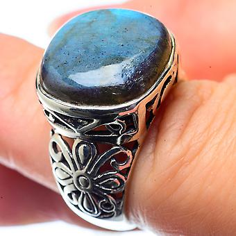 Labradorite Ring Size 6.25 (925 Sterling Silver)  - Handmade Boho Vintage Jewelry RING26524