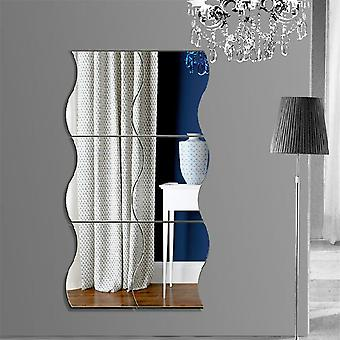 6pcs 3d Wave Acrylic Mirror Wall Sticker