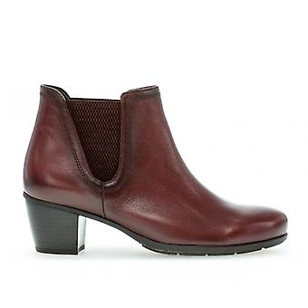 Gabor Ecological Ladies Leather Ankle Boots Dark Red