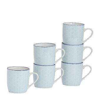 Nicola Spring 6 Piece Geometric Patterned Tea and Coffee Mug Set - Small Porcelain Cappuccino Cups - Electric Blue - 280ml