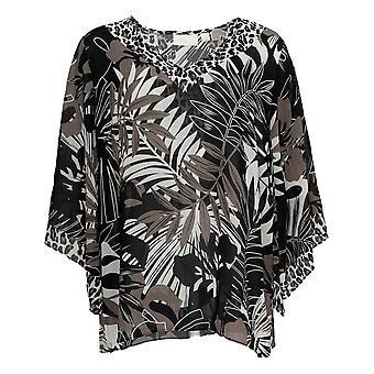 Belle by Kim Gravel Women's Top Printed Woven Blouse Black A373653