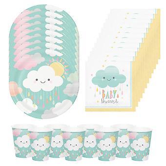 Baby Shower Party Pack   8 צלחות   8 כוסות   16 מפיות נייר