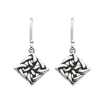 Heritage Sterling Silver Celtic Square Knot Drop Boucles d'oreilles 62037HP026