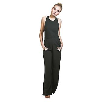 Ladies high waisted jumpsuit - dark green wide leg trouser palazzo style