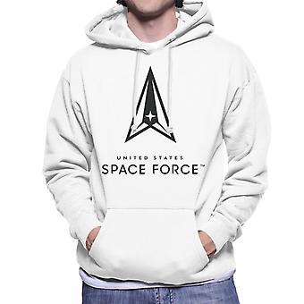 U.S. Space Force Clear Logo Dark Text Men's Hooded Sweatshirt