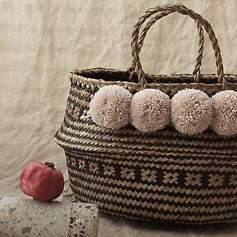 Wide Woven Straw Pom-poms Basket