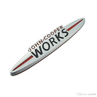 Chrome/Red/Black Mini John Cooper Works Badge Emblem 135mm x 25mm